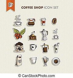 bolt, kávécserje letesz, ábra, ikonok