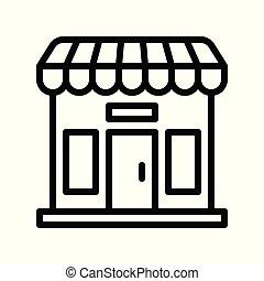 bolt, kapcsolódó, fekete, péntek, vektor, egyenes, ikon
