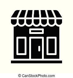 bolt, kapcsolódó, szilárd, fekete, péntek, vektor, ikon