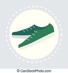 bolt, lakás, mód, bevásárlás, cipők, segédszervek, zöld, jel, hím, kényelmes, ikon