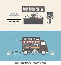 bolt, mozgatható, kávécserje