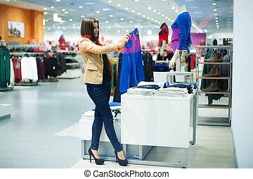 bolt, nő, bájos, eldöntés, öltözék