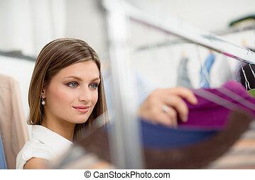 bolt, nő, ing, fiatal, eldöntés, öltözék