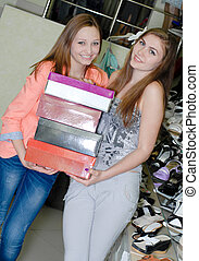 bolt, nők, boldog, két, cipő