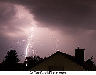 Bolt of lightning - Spectacular lightning strikes a house in...