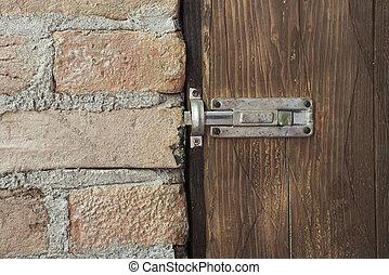 Bolt on an Old Wooden Door
