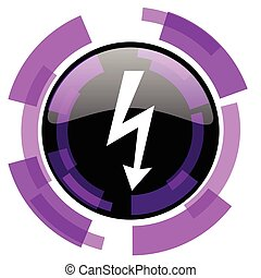 Bolt pink violet modern design vector web and smartphone icon. Round button in eps 10 isolated on white background.