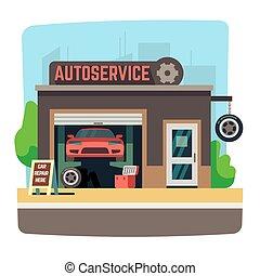 bolt, rendbehozás, autó, belső, autó, ábra, garázs, vektor, szerelő, autó