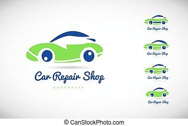 bolt, rendbehozás, autó, vektor, tervezés, jel, ikon