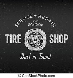 bolt, rendbehozás, bolt, jó, poster., vector., autógumi, klasszikus, shirt., szüret, elkezdődik, címke, garázs, műhely, retro, kerék, autók, monochrom, aukció, treff, design.