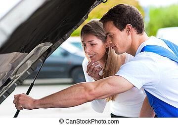 bolt, rendbehozás, nő, autó, beszéd, szerelő