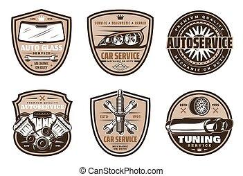 bolt, rendbehozás, szolgáltatás, autó, tervezés, retro, autó, jelvény
