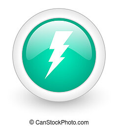 bolt round glossy web icon on white background