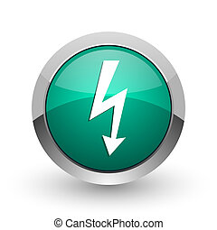 Bolt silver metallic chrome web design green round internet icon with shadow on white background.