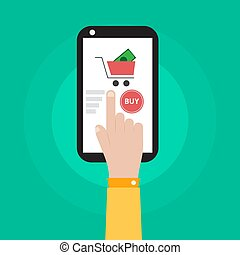 bolt, smartphone, kéz, vektor, tervezés, birtok, ikon