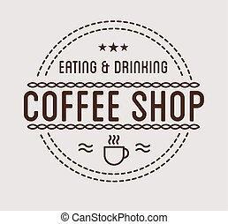 bolt, szüret, kávécserje, logo., sablon