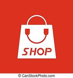 bolt, táska, kedves, piros, ikon