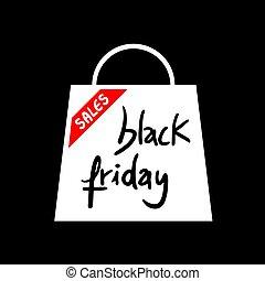 bolt, táska, péntek, fekete, ikon