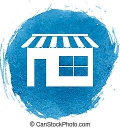 bolt, vízfestmény, hatás, ikon
