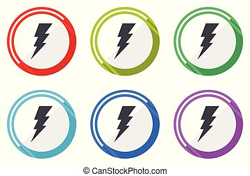 Bolt vector icon set. Colorful flat design web icons on white background in eps 10.