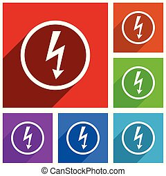 Bolt vector icons. Electricity flat design colorful illustrations for web designers and mobile applications in eps 10