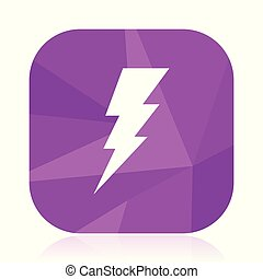 Bolt violet square vector web icon. Internet design and webdesign button in eps 10. Mobile application sign on white background.