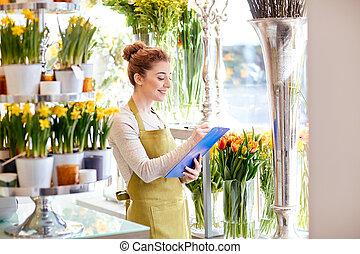 bolt, virágárus, nő, csipeszes írótábla, virág