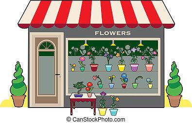 bolt, virág