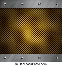 bolted, gyllene, fiber, aluminium, ram, bakgrund, kol, borstat