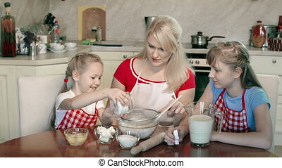 Bolting Flour - Daughters helping mother to bolt the flour