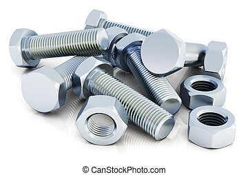 Bolts and nuts - Creative abstract industrial business...