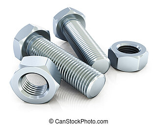 Bolts and nuts - Macro view of shiny metal bolts and nuts...