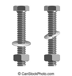 Bolts and nuts realistic vector illustration isolated on white.