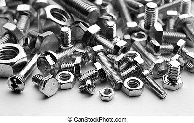 bolts and screw - bolts, screws, mono chrome photo