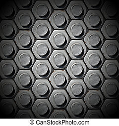 Metallic grunge background with bolts heads