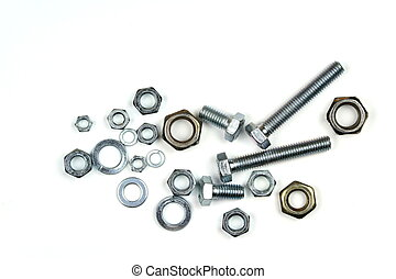 Bolts, nuts, and washers on white background.