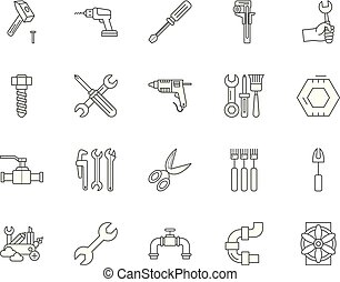 Bolts, nuts, screw, rivets & washers line icons, signs, vector set, outline illustration concept