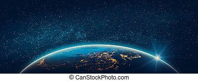 bolygó földdel feltölt, -, ázsia, város láng