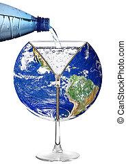 bolygó földdel feltölt, alatt, egy, víz pohár, white, háttér