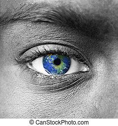 bolygó földdel feltölt, alatt, kék, emberi szem