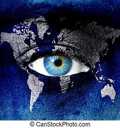 bolygó földdel feltölt, blue, emberi szem