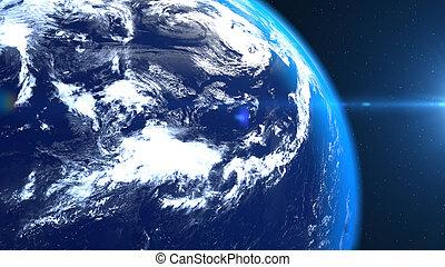 bolygó földdel feltölt, closeup, hely