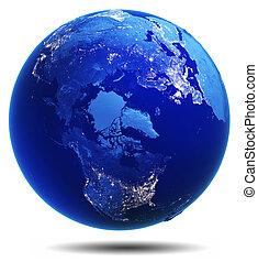 bolygó földdel feltölt, fehér, elszigetelt