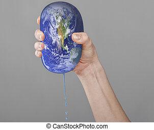 bolygó földdel feltölt, nő, hands.