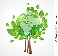 bolygó földdel feltölt, zöld fa