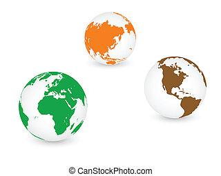 bolygó, globális, földdel feltölt, világ