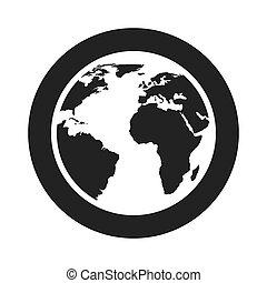 bolygó, világ, földdel feltölt, ikon