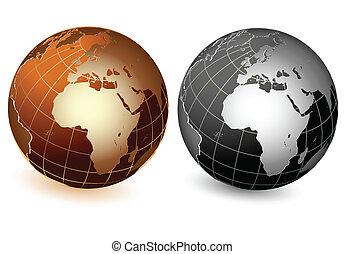 bolygó, világ, globális, földdel feltölt, ikon