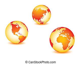 bolygó, világ, globális, földdel feltölt
