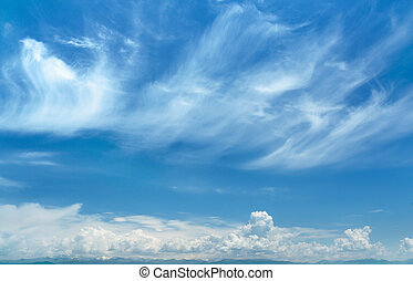 bolyhos, elhomályosul, alatt, a, kék ég